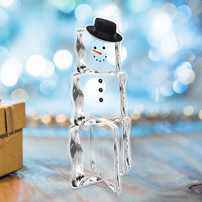 Christmas Ice Cube Snowman with hat, sun catcher