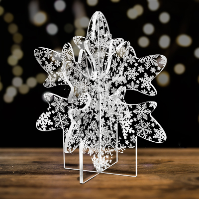 snowflake patterned tabletop decoration