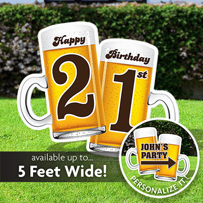 Two giant beer mugs Happy 21st Birthday Sign