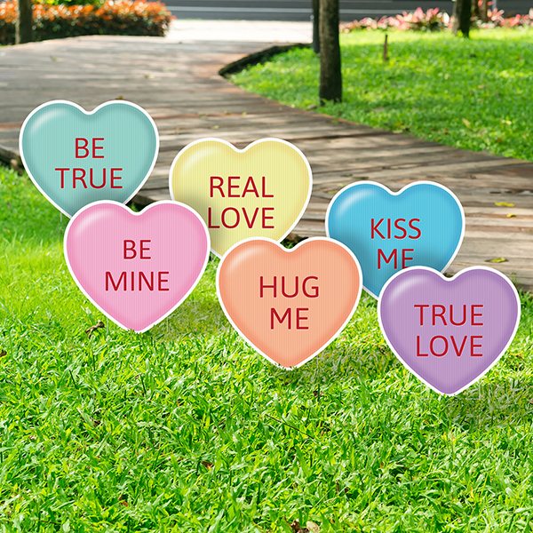 Candy Heart Yard Signs - Set of 6
